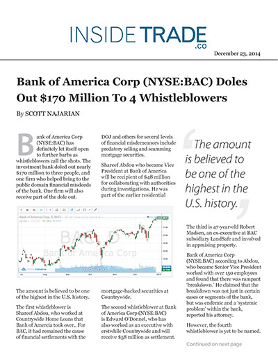Bank of America Corp (NYSE:BAC) Doles Out $170 Million To 4 Whistleblowers