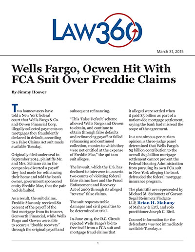 Wells Fargo, Ocwen Hit With FCA Suit Over Freddie Claims