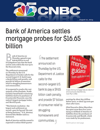 Bank of America settles mortgage probes for $16.65 billion